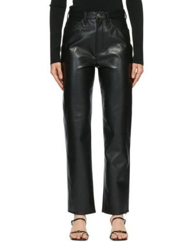 Czarny skórzany spodni spodnie Agolde