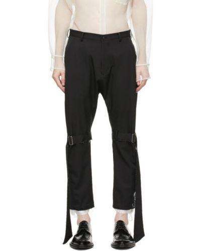 Czarne spodnie wełniane z paskiem Sulvam
