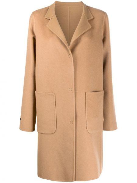Однобортное коричневое кашемировое длинное пальто Manzoni 24