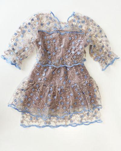 Синее нарядное платье с оборками Goldenwomen