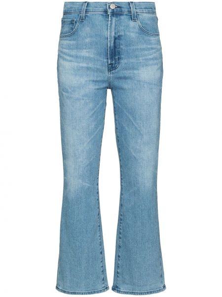 Хлопковые синие укороченные джинсы стрейч J Brand