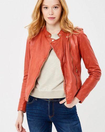 Кожаная куртка весенняя красная Oakwood