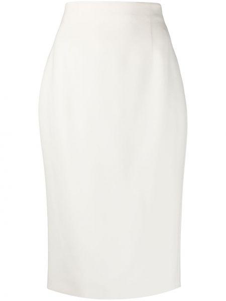 Шерстяная с завышенной талией белая юбка миди Alexander Mcqueen