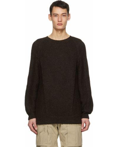 Brązowy długi sweter wełniany z długimi rękawami Acronym