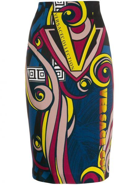 Приталенная синяя юбка карандаш с рукавом 3/4 Versace Collection