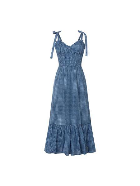 Niebieska sukienka rozkloszowana z falbanami Polo Ralph Lauren