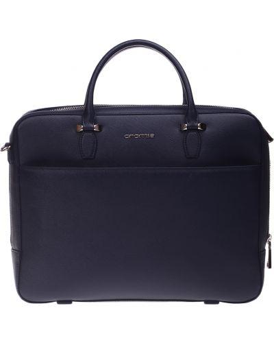 Кожаный портфель - синий Cromia