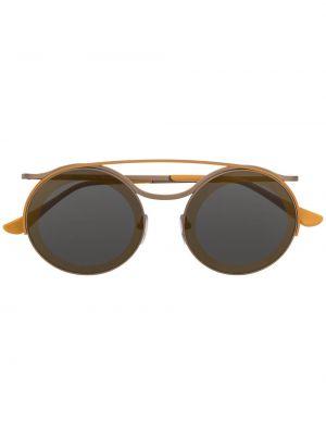 Прямые желтые солнцезащитные очки круглые металлические Marni Eyewear