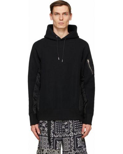 Czarna bluza długa z kapturem z długimi rękawami Sacai