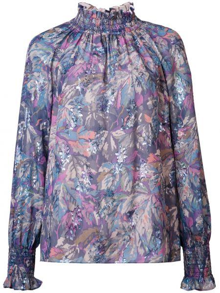 Fioletowa bluzka z długimi rękawami z jedwabiu Rebecca Taylor