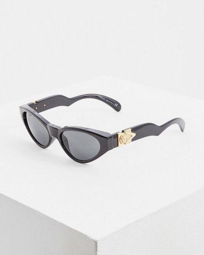 Солнцезащитные очки узкого кроя черные Versace