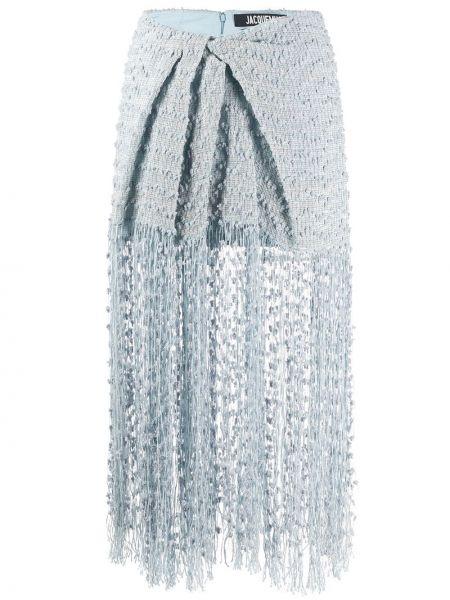 Вязаная юбка миди - синяя Jacquemus