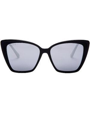 Okulary przeciwsłoneczne skórzany czarne Diff Eyewear