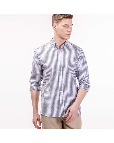Рубашка серая в полоску Lacoste
