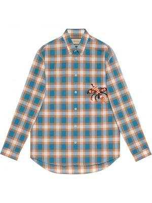 Koszula zapinane na guziki - niebieska Gucci
