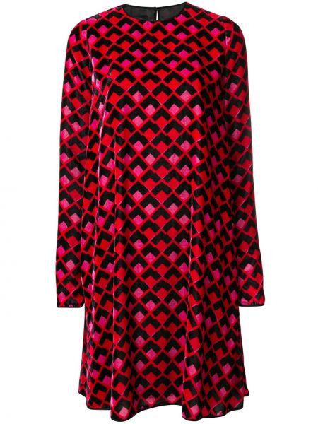 Sukienka długa z długimi rękawami z jedwabiu z printem Rochas