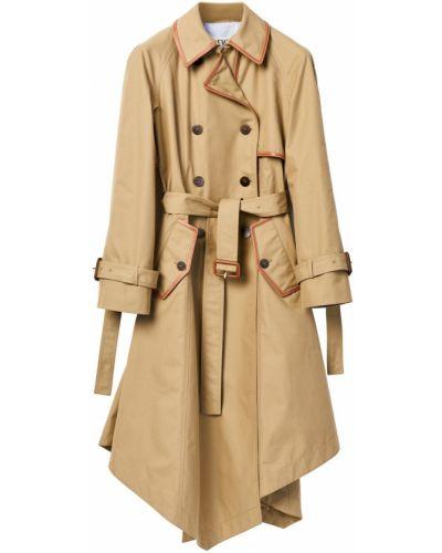 Бежевое кожаное пальто с воротником Loewe