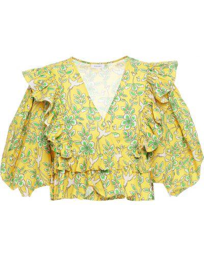 Żółta bluzka kopertowa bawełniana Rhode