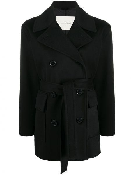 Черное кашемировое длинное пальто двубортное Mackintosh