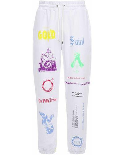 Białe joggery bawełniane z printem Ihs