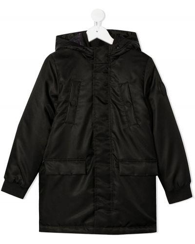 Klasyczny czarny płaszcz przeciwdeszczowy z długimi rękawami Karl Lagerfeld Kids