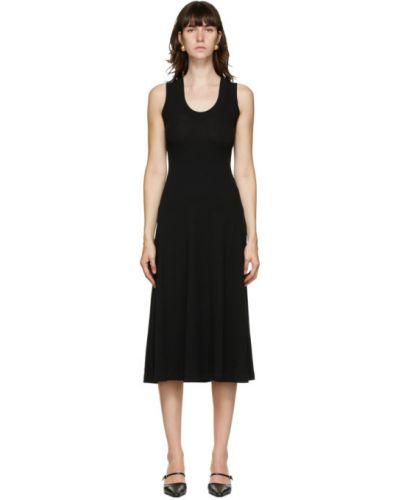 Хлопковое черное платье с воротником без рукавов Rosetta Getty
