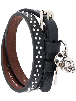 Черный кожаный браслет с подвесками Alexander Mcqueen