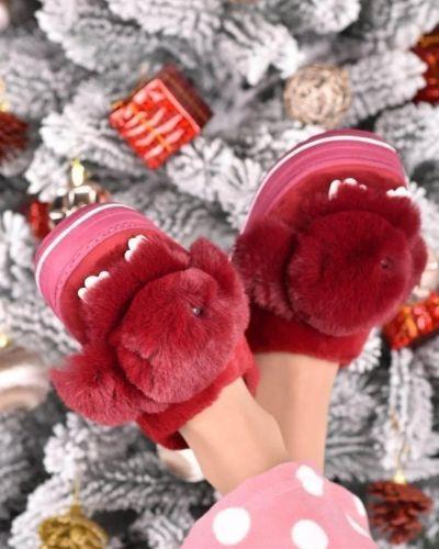 Текстильные тапочки - бордовые No Brand