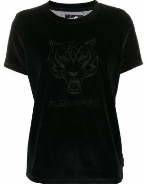 Бархатная черная рубашка с вышивкой Plein Sport