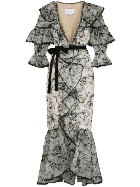С рукавами белое платье миди с оборками Marchesa