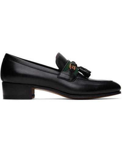 Czarny loafers z frędzlami na pięcie z prawdziwej skóry Gucci