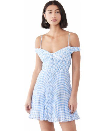 Синее платье мини с декольте с подкладкой Self-portrait
