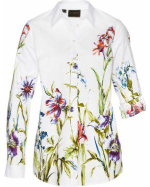 Блузка с длинным рукавом с цветочным принтом белая Bonprix