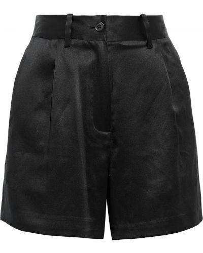 Шелковые черные шорты с карманами Nili Lotan