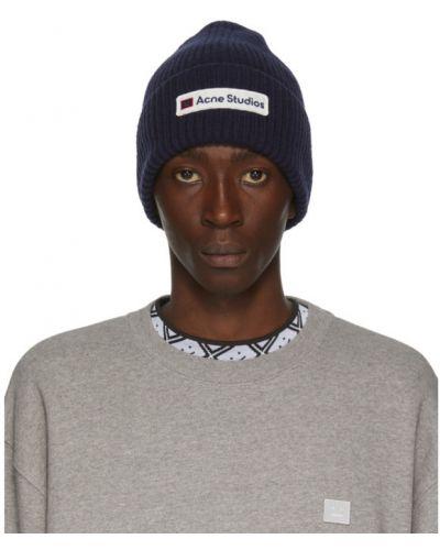 Шерстяная белая шапка бини с вышивкой Acne Studios