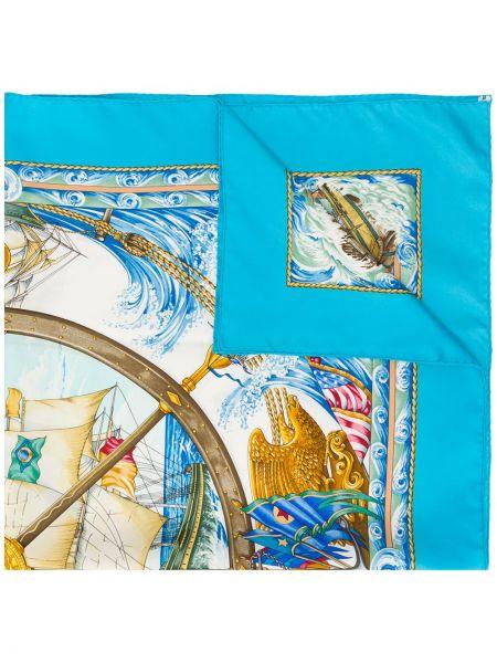 Синий шелковый платок Hermes