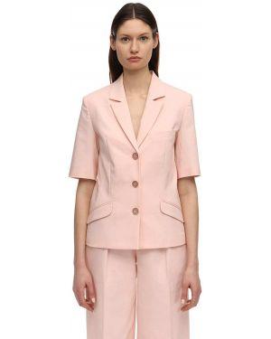 Розовый пиджак с коротким рукавом с карманами с лацканами с короткими рукавами Lesyanebo