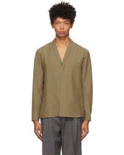 Brązowa koszula z długimi rękawami z jedwabiu Vejas