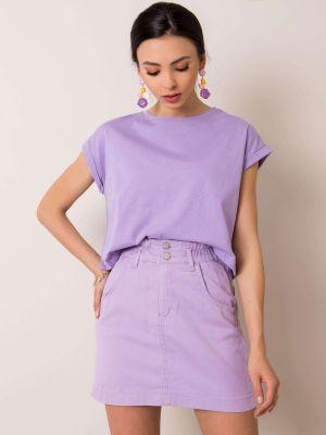 Fioletowa spódnica jeansowa bawełniana Fashionhunters
