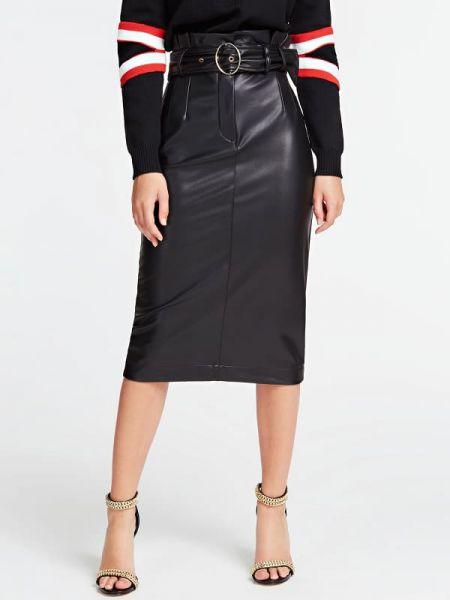 Czarna spódnica ołówkowa z paskiem z haftem Guess