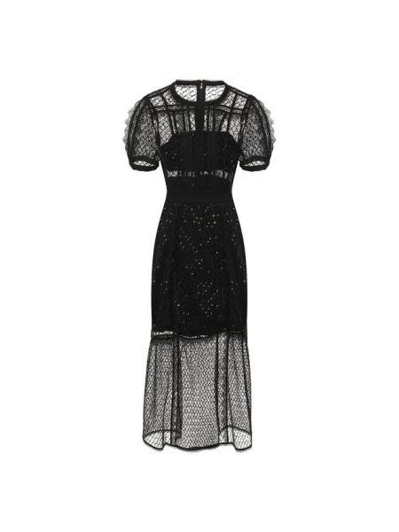Платье миди приталенное черное Self-portrait