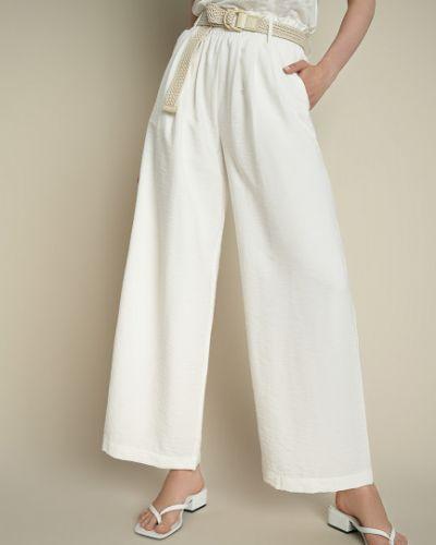 Свободные белые брюки на резинке Ostin