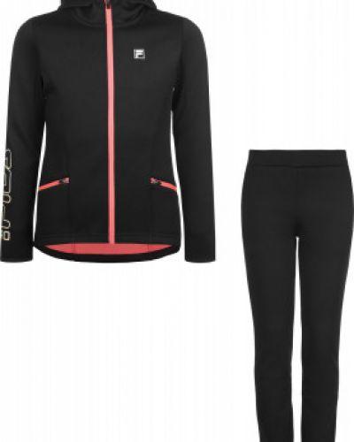 Черный костюмный спортивный костюм с капюшоном для фитнеса Fila