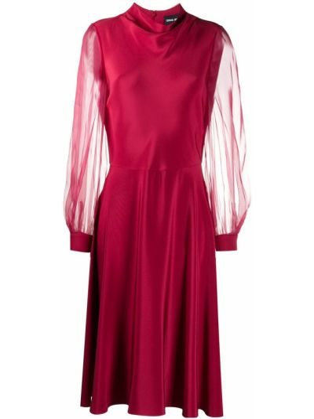 Красное расклешенное платье мини из органзы с длинными рукавами Giorgio Armani