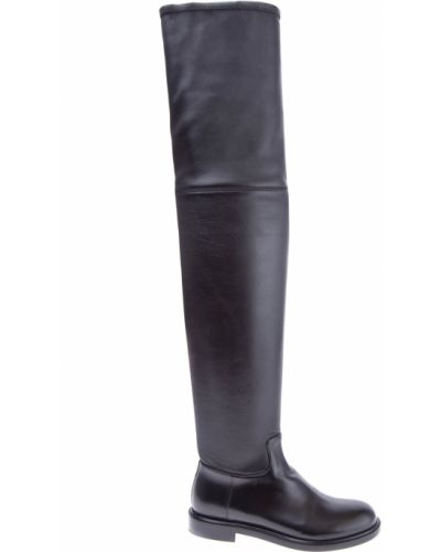 Кожаные сапоги черные на каблуке Valentino