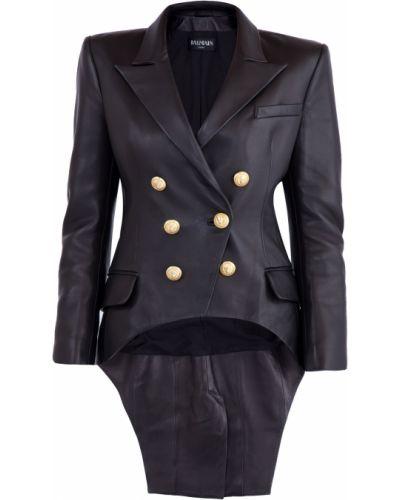 Кожаная куртка черная длинная Balmain