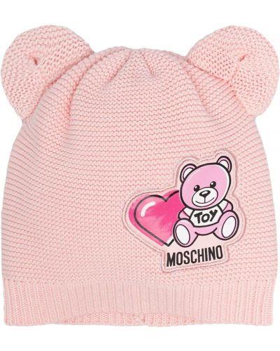 Хлопковая розовая шапка бини в рубчик Moschino Kids