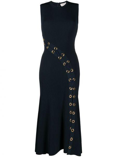 Платье миди в рубчик с рукавами Alexander Mcqueen