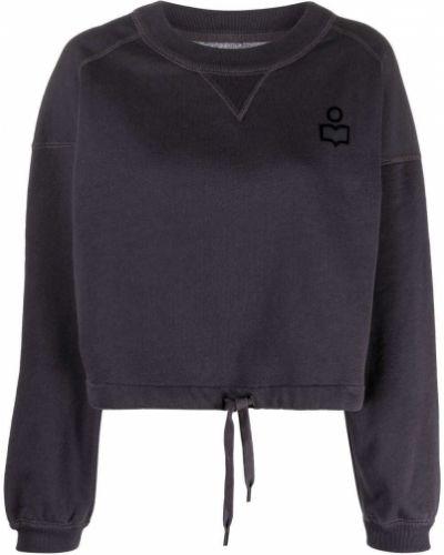Czarna bluza długa bawełniana z długimi rękawami Isabel Marant