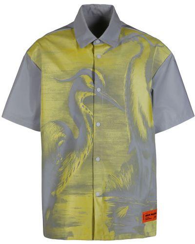 Klasyczna szara koszula krótki rękaw Heron Preston